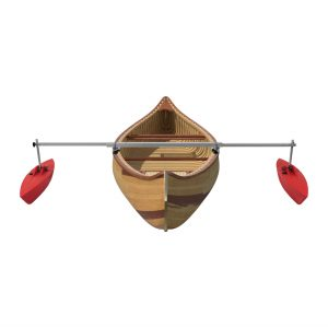 Bold Ivy Canoe Stabilizer Set – 36″ – Extended with Canoe – Red