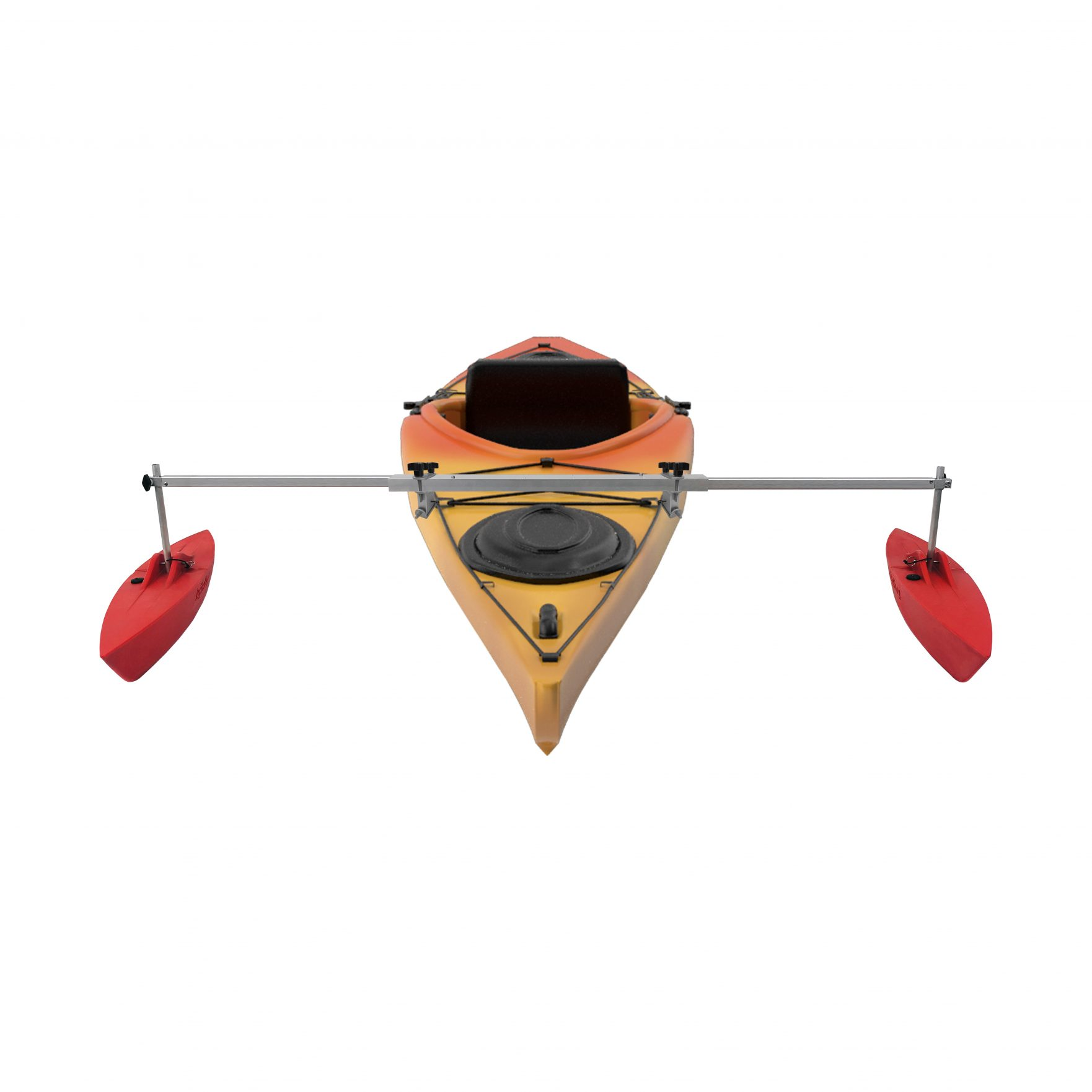 Bold Ivy Kayak Stabilizer Set – 30″ – Extended with Kayak – Red